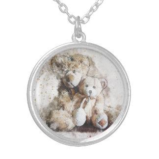 Süßes Brown-Teddybär-Silber überzogene Halskette
