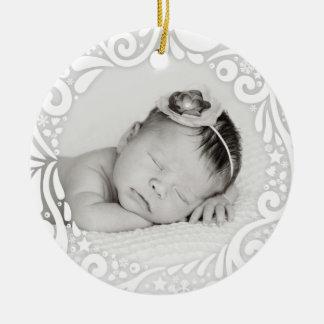 Süßes einfaches weißes kundenspezifisches Foto des Keramik Ornament