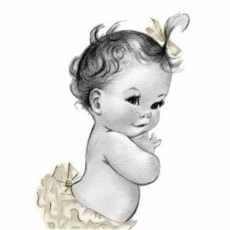 Süßes Elfenbein-Vintage Baby-Mädchen-Dusche Freistehende Fotoskulptur