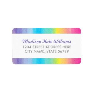 Süßes Feier-Aquarell-Regenbogen-Adressen-Etikett Adressetikett