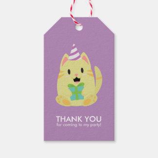 Süßes gelbes Katzen-Kindergeburtstag-Party Geschenkanhänger