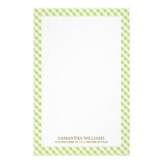 Süßes grünes Gingham-Muster Briefpapier