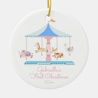 Süßes Karussell-Mädchen Babys erste Rundes Keramik Ornament