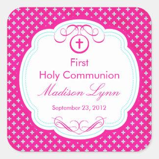 Süßes Kreuz Rahmen-im ersten heilige Kommunions-Ro Quadrataufkleber