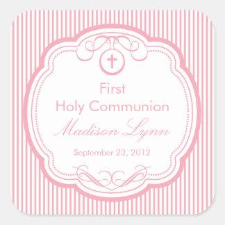 Süßes Kreuz Rahmen-im ersten heilige Kommunions-Ro Quadratsticker