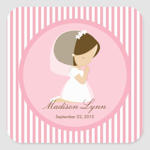 Süßes Mädchen-erstes heilige Kommunions-Aufkleber-