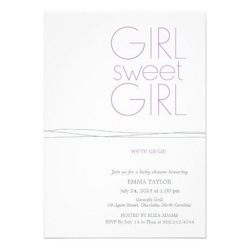 Süßes Mädchen-kundenspezifische Duschen-Einladung