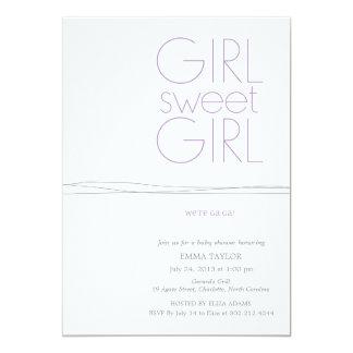 Süßes Mädchen-kundenspezifische Duschen-Einladung 12,7 X 17,8 Cm Einladungskarte