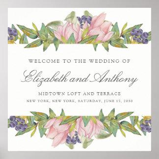 Süßes Magnolien-Aquarell-Hochzeits-Zeichen-Plakat Poster