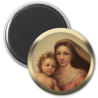 Süßes Mary- und Jesus-KindSistine madonna Prang Runder Magnet 5,1 Cm