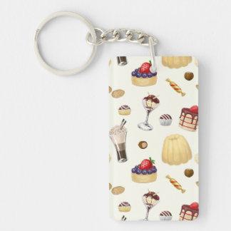Süßes Muster mit verschiedenen Nachtischen Schlüsselanhänger