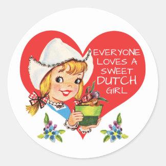 Sweet Dutch Girl Vintage Tulips Meisje & Heart