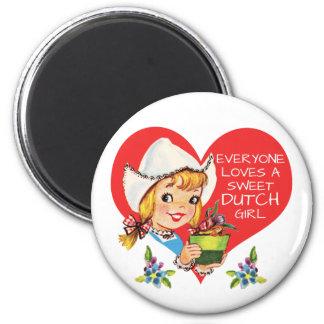 Süßes niederländisches Mädchen-Vintage Tulpen Runder Magnet 5,1 Cm