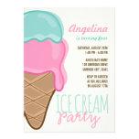Süßes rosa Eiscreme-Mädchen-Geburtstags-Party Individuelle Ankündigskarten