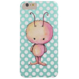 Süßes rosa Monster auf aquamarinen Polka-Punkten Barely There iPhone 6 Plus Hülle