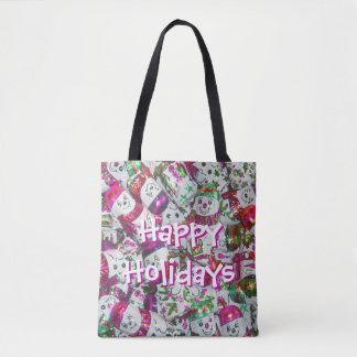Süßes Schneemann-Rosa frohe Feiertage ganz über Tasche