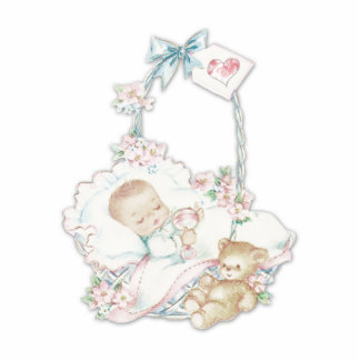 Süßes Vintages Baby-Mädchen Freistehende Fotoskulptur