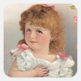 Süßes Vintages Mädchen Quadratischer Aufkleber