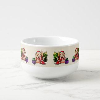 Süßes Vintages Sankt-Elefant-Weihnachten Große Suppentasse