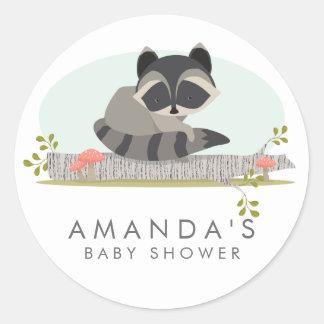 Süßes Waldraccoon-Baby-Duschen-Bevorzugungs-Siegel Runder Aufkleber