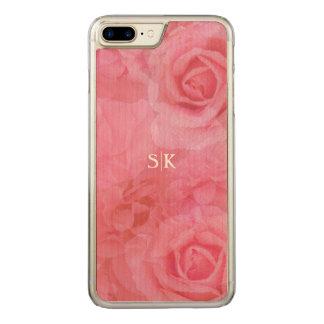 Süßes weiches Rosa erröten Rosen-Gemisch-Monogramm Carved iPhone 8 Plus/7 Plus Hülle