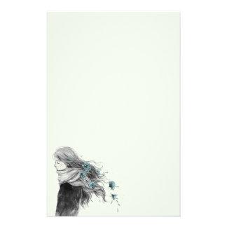 Süßes Winter-Mädchen mit Blumen in ihrem Haar Briefpapier