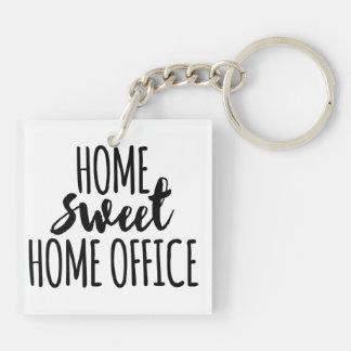 Süßes Zuhausebüro des Zuhause Beidseitiger Quadratischer Acryl Schlüsselanhänger