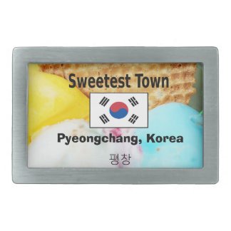 """Süßeste Stadt"" Entwurf - Pyeongchang, Südkorea Rechteckige Gürtelschnalle"