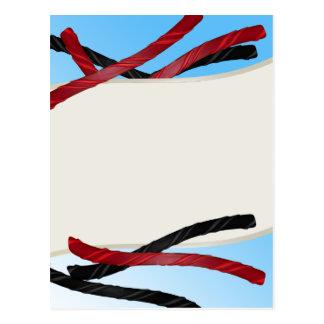Süßholz Ropes Schwarzes und Rot Postkarte