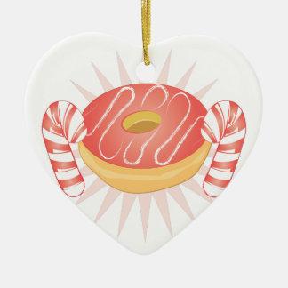 Süßigkeit u. Krapfen Keramik Herz-Ornament