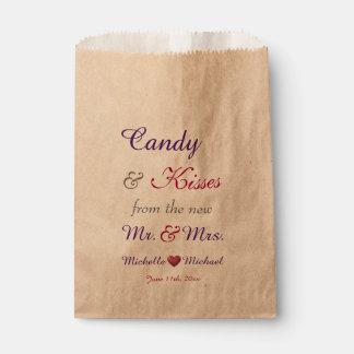 Süßigkeit u. Küsse GASTGESCHENK HOCHZEITS-TASCHEN Geschenktütchen