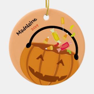 Süßigkeit und lächelnde Verzierung des Kürbis-| Keramik Ornament