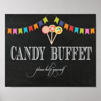 Süßigkeits-Buffet-Tabellen-Zeichen - Bar-Zeichen Poster