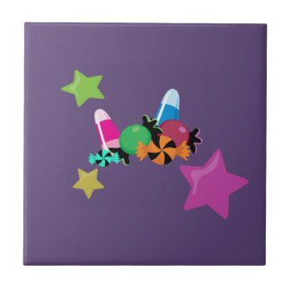 Süßigkeits-Collagen-Halloween-Entwurf Kleine Quadratische Fliese