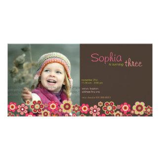 Süßigkeits-Gänseblümchen-Muster-Geburtstag laden F Individuelle Photo Karten