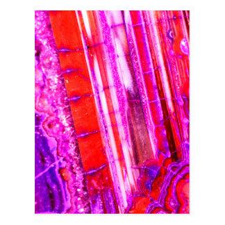 Süßigkeits-gestreifter roter u. lila Quarz Postkarte