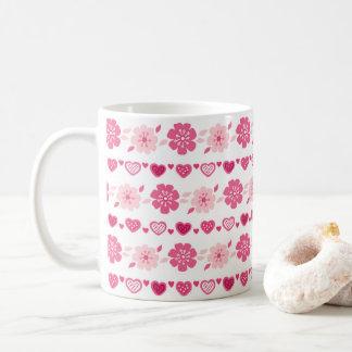 Süßigkeits-Herz-Blumen-Muster des Valentines Tages Kaffeetasse