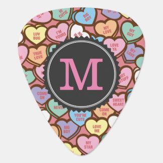 Süßigkeits-Herz-Bonbon merkt Valentinsgruß Plektron