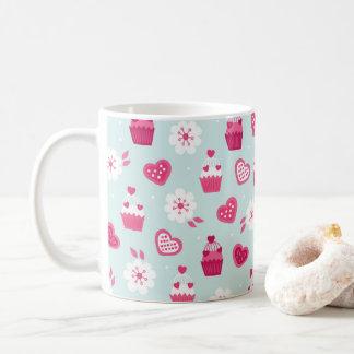 Süßigkeits-Herz-Kuchen-Blumen des Valentines Tages Kaffeetasse