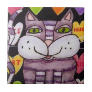 Süßigkeits-Herz-lila KatzeValentine Kleine Quadratische Fliese