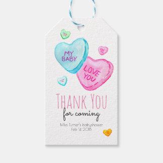 Süßigkeits-Herz-Valentinsgruß-Babyparty danken Geschenkanhänger