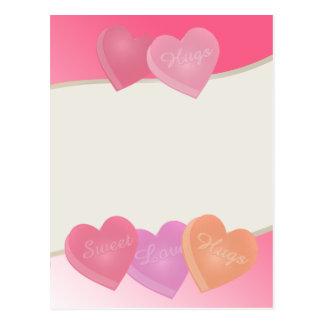 Süßigkeits-Herzen Postkarte