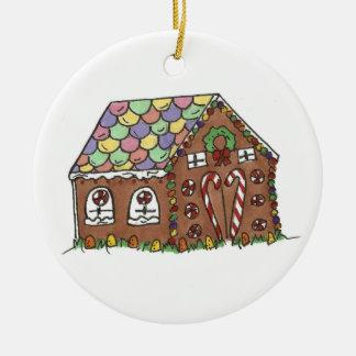 Süßigkeits-Lebkuchen-Haus-frohe Weihnacht-Feiertag Keramik Ornament