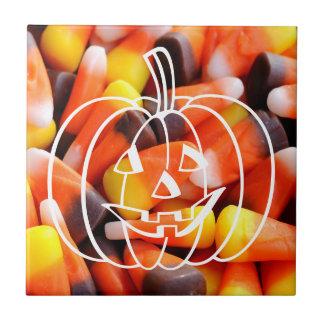 Süßigkeits-Mais-Jack O'Lantern Kleine Quadratische Fliese