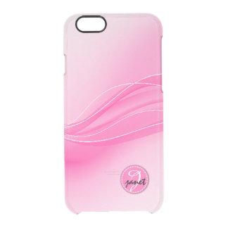 Süßigkeits-rosa modernes Wellen-Monogramm Durchsichtige iPhone 6/6S Hülle