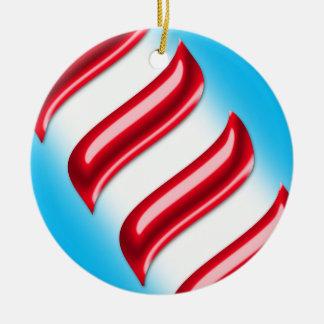 Süßigkeits-Streifen auf einem hellblauen Keramik Ornament