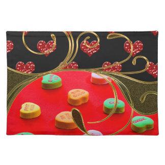 Süßigkeits-u. Glitzervalentine-Herz-goldener Stofftischset