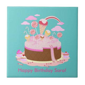 Süßigkeits- und Schokoladenkuchen für Kleine Quadratische Fliese