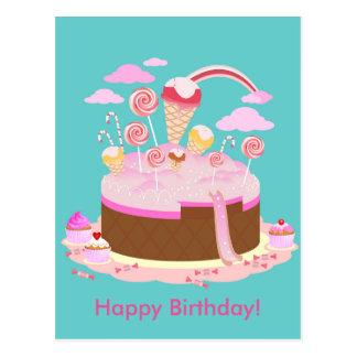 Süßigkeits- und Schokoladenkuchen für Postkarte