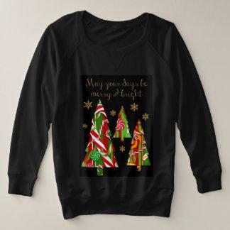 Süßigkeits-Weihnachtsbäume u. Goldschneeflocken Große Größe Sweatshirt